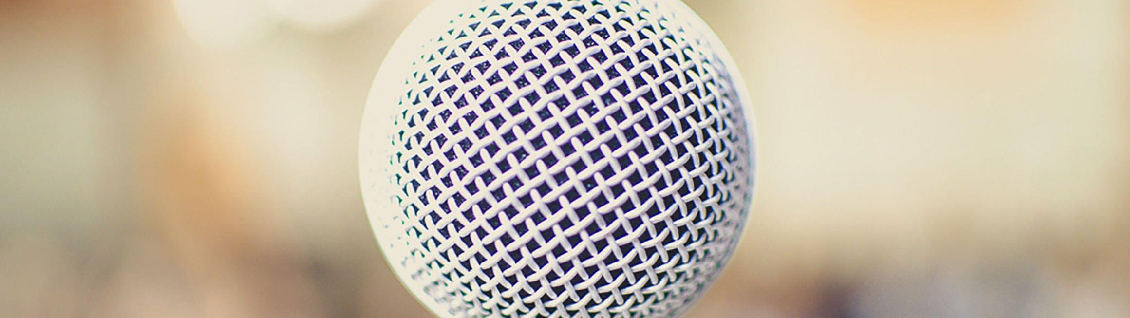 Close-up of a microphone.